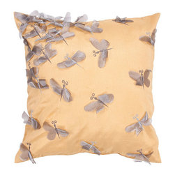Jaipur - Whisper Yellow, Gold and Gray 18-Inch Square Pillow - - Soft shades of neutral and dusty pastel are the cornerstone of this whimsical feminine range of pillows made from poly dupione. The collection features imagery of butterflies, florals, and birds  - Cleaning and Care: Remove the throw pillow's cover, if it is removable. Wash the cover separately from the pillow. Pre-treat badly soiled or stained areas on the pillow cover with a color-safe prewash spray. Rub the spray into the stain with a damp sponge. Wash the pillow cover, or the whole pillow, on a gentle-wash cycle in warm water with a very mild detergent. Detergent for delicate fabrics or baby clothes is usually suitable. Remove the pillow or pillow cover as soon as the washing machine has ended the cycle and has shut off. Hang the pillow or cover up to dry in a well-ventilated area. If the care label specifies that the item is dryer-safe, place the pillow or pillow cover in the dryer and tumble dry on low heat. Fluff the pillow once it is dry in order to maintain its form. Don't use the pillow until it is completely dry. Damp pillows will attract dirt more easily  - Construction: Handmade  - It is Sustainable Jaipur - PLC100114
