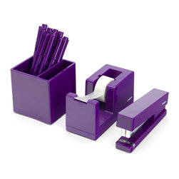 Poppin - Starter Desk Set, Purple - Starter Set includes: Stapler with free Staples, Tape Dispenser with free Tape, Box of 12 Signature Pens, and Pen Cup
