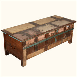 Rustic Reclaimed Wood Distressed Antique Steamer Trunk Chest - Hope chests often held the history and hopes of many generations and our Rustic Reclaimed Wood Distressed Antique Steamer Trunk Chest is made with authentic aged wood. This hand crafted Coffee Table Chest is built with reclaimed wood from Gujarat.