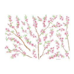 "Home Decor - Peach Branch Wall Art - A flowering peach branch is a dewy and beautiful decor element for your home. Bring these gorgeous soft spring blossoms to your wall with this wall decal set, which can be arranged however you please. This flowering branch removable sticker set is stunning on any wall, bringing an Asian style elegance. Each pack comes on a 39.4"" x 27.5"" sheet. Imported from Italy"