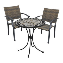 "Home Styles - Home Styles Marble Bistro Table & 2 Newport Arm Chairs in Black & Gray - Home Styles - Patio Bistro Sets - 5605341 - 3PC Bistro Set Includes Outdoor Dining Table & Two Newport Arm Chairs. The Bistro Table features a table top constructed of natural octagon marble tiles with black square marble tile accents; trimmed in a rectangular and square black marble tile ring.  The cabriole designed base is constructed of aluminum in a Black finish.  Adjustable nylon glides prevent damage to surfaces caused by movement and provide stability on uneven surfaces.  Size:  28"" Diameter x 30"" Height. The Newport Arm Chair features a two-tone Walnut Brown synthetic-weave seat and back over an aluminum frame in a Black finish.   The synthetic-weave is both moisture and weather resistant and requires very little maintenance.  Adjustable nylon glides prevent damage to surfaces caused by movement and provide stability on uneven surfaces.  Seat height measures 18"".  Arm height measures 26.25"". All Homes Styles outdoor casual dining chairs are sold two per pack and are designed to stack for easy storage. Size:  24.5 x 24.25 x 36"