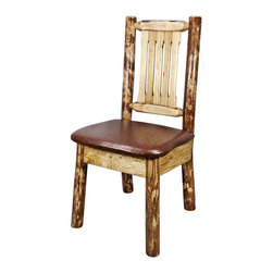 Montana Woodworks - Side Chair With Chestnut Seat - This wonderful dining/side chair is as comfortable as it is unique. Handcrafted using small diameter lodge pole logs harvested in Montana this log dining chair is designed to last for generations. This chair incorporates the tried and true mortise and tenon joinery system that has served as a symbol of durability for millennia. Finished in the glacier country collection style for a truly unique, one-of-a-kind look reminiscent of the grand lodges of the Rockies, circa 1900. First we remove the outer bark while leaving the inner, cambium layer intact for texture and contrast. Then the finish is completed in an eight step, professional spraying process that applies stain and lacquer for a beautiful, long lasting finish.