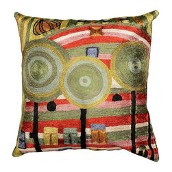 """Modern Silk - Hundertwasser Beloved Gardens silk Decorative Pillow Cover Hand Embroidered 18"""" - We are in need of magic. I fill a picture until it is full with magic, as one fills up a glass with water. Friedensrich Hundertwasser paints beautiful distortions patterns in vibrant palettes and explosive colors based on Art Nouveau principles.The entire cotton base of the pillow is overlaid with soft wool, stitch by stitch, creating an extraordinary show piece for your decor. This is world-class workmanship created to enhance your world with dynamic color and motif."""