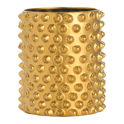 Arteriors - Snail Shell Container - The unique surface pattern and variations in color and texture make this container at home with gold or brass funishings.  Standing alone or sleekly holding a single orchid, this cache pot will add sparkle, drama and warmth to any decor.