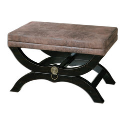 Uttermost - Hartman Cushioned Bench - Velvety Soft, Faux Leather On A Satin Black Wooden Base With Antique Brass Metal Accents.