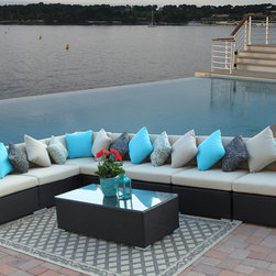 Outdoor Sectionals | Wicker Patio Sectionals - Super-size outdoor wicker sectional set offering great deal of quality and comfort.