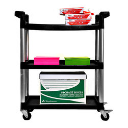 None - Trinity 3-tier Utility Cart - When you find yourself needing to move heavy equipment, this rolling utility cart will come in handy. You can place heavy objects on top of the unit or along one of its shelves. The black and grey utility cart is constructed to handle it all.