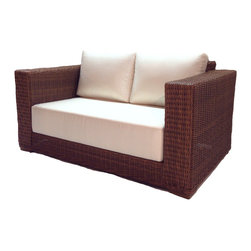 Wicker Paradise - Patio Wicker Loveseat - Santa Barbara - Patio wicker loveseat enjoyment is only a click away! Beautiful weaving, 9 Inch thick cushions, and Contemporary styling make this set a must buy. Choose from dozens of designer inspired Sunbrella fabrics.
