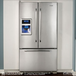 "Dacor - EF36IWFSS Renaissance 36"" 19.9 Cu. ft. Freestanding French Door Refrigerator  Ex - The elegant stainless steel French Door design is as beautiful as it is functional allowing the full width of the refrigerator to be used for food storage And it39s ENERGY STAR qualified dellivering 20 more efficiency than non-ENERGY STAR models - co..."