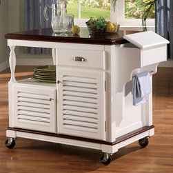 Coaster - Kitchen Island in White - This substancial piece instantly expands your kitchen's work and storage area. Crafted from solid Birch and veneer in a cherry and white finish, it rests on four industrial grade casters.