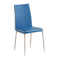 Homelegance - Homelegance Goran Side Chair in Blue - The minimalistic contemporary look of the Goran collection captures the clean aesthetic that you strive to achieve in your home. The glass tabletop and base are accented by vertical chrome finished supports. Your individual taste comes to the forefront in the chairs that you choose to accompany your table.