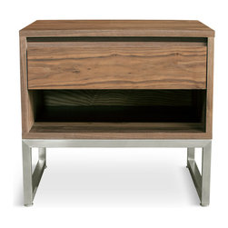 Gus* - Annex End Table - Annex End Table  by Gus Modern    At A Glance:   The newest addition to the Annex Collection from Gus Modern, the Annex End Table brings the same style and function of other Annex pieces to your bedside. A self-closing drawer with a recessed handle gives you space to store you things while the open cavity provides a great storage and display area. The stainless steel base contrasts beautifully with the walnut veneer.  What's To Like:    With modern design, you don't want it to be distracting - but you do want it to be beautifully appointed and well-balanced. Annex achieves that goal. Great as an end table or as a nightstand, since it has just the right kind of look for either. Recessed handle won't snag on your clothing as you walk past.   What's Not to Like:   You could get a cheaper end table - but it probably wouldn't be as beautiful. Still, Annex is expensive.  The Bottom Line:   Previously called