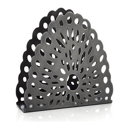 Swag Large Napkin Holder - Cutout swag design adds festive appeal to this upright napkin holder, crafted of iron and hand finished to give it the look of a prized antique. Due to its handcrafted nature, holders will vary slightly. Available two sizes: large to hold dinner napkins and small for beverage napkins.
