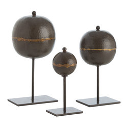 Kathy Kuo Home - Rocco Global Bazaar Set of 3 Hammered Iron Orb Sculptures - Mixed metal always adds an extra level of depth and artistry to sculptures, and this trio certainly have a strong artistic presence.  Crafted from natural iron and brass, a strong contemporary approach and simple shapes bring the raw beauty of these three to life.