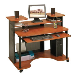 Sauder - Saturn Computer Workcenter in Black & Cherry - Unique multilevel design workstation. Shelf for monitor and storage with 4 in. clearance. Slide-out keyboard shelf. Bottom shelf with cut-out for cord access. Super strong steel mesh side panels and posts for stability. Casters for mobility with 2 locking. Made of engineered wood and steel. Assembly required. 52 in. W x 32 in. D x 41 in. H