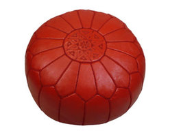 Red Moroccan Leather Pouf - I think this hand-stitched red Moroccan leather pouf would add a lot of flair to any room. I'd love to put it in some sort of a game or rec room.