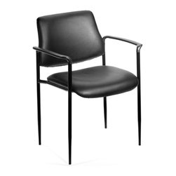 BOSS Chair - Stacking Office Chair w Arms, Padded Seat & B - Contemporary style. Powder coated steel frames. Tapered legs. Molded arm caps. Stackable for space saving storage space. Waterfall seat reduces stress on legs. Stacks 4 high. Upholstered in Black Caressoft vinyl. Cushion color: Black. Base/wood: Black. Seat size: 18 in. W x 18 in. D. Seat height: 18 in. H. Arm height: 25.5 in. H. Overall dimension: 23.5 in. W x 23 in. D x 30.5 in. H. Weight capacity: 250 lbs