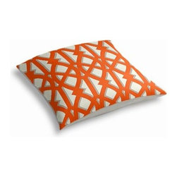 Orange Trellis Custom Outdoor Floor Pillow - Pick up a Simple Outdoor Floor Pillow for your next shindig under the sun. Perfect for an outdoor picnic or Moroccan style cabana party. We love it in this oversized outdoor modern trellis in orange and gray. Phew, no pruning needed!