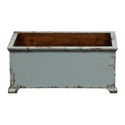 Antique Revival - Aqua Med. Size French Style Planter - This rectangular, wooden french planter is a functional accent piece. It works both indoors and outdoors and has four stub legs. Item is newly made from pine.