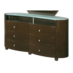 Global Furniture - Emily 6 Drawer Glass Top Dresser in High Shee - Modern style. Durable construction. Glass top. Six drawers. Constructed with MDF. 63 in. W x 21 in. D x 32 in. H (216 lbs.)