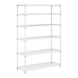 Honey Can Do - 6-Tier Adjustable Storage Shelving Unit (Whit - Color: WhiteCreate visible and accessible storage space instantly. Perfect blend of style and functionality. Durable. Withstanding up to 600 lbs. per shelf. Adjustable shelves and stackable components. Lifetime limited warranty. Made from steel. White finish. Assembly required. 48 in. L x 18 in. W x 72 in. H (67.10 lbs.)Durable enough for the home, garage, or commercial kitchen; this NSF-rated shelving for food equipment areas including refrigerators, freezers, and warewashing areas. Combine multiple units to create a customized storage wall. The no-tool assembly allows you to construct in minutes a shelving unit that will last for years.