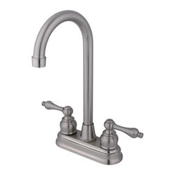 "Kingston Brass - Two Handle 4"" Centerset High-Arch Bar Faucet - This double handle centerset high-arch faucet features a traditional style for those who appreciate the antique look in their kitchen. The faucet includes small orb-shaped escutcheons with sleek high-arch spouts and a Victorian design that combines sophistication with beauty. The unit provides a two-hole sink application and a 1/4-turn on-and-off mechanism for controlling the flow of water. The item is fabricated in high-quality brass and is crafted to ensure years of reliable performance; also comes in a variety of finishes to allow you options when creating/improving your bar setting.; Satin nickel finish adds a bright look enhancing the beauty of your bar setting; Water flow rate is 2.2 GPM (8.3 LPM) maximum flow rate at 60 PSI; Metal lever handles with a 1/4-turn washerless cartridge; Two-hole 4"" centerset installation with a 90-degree rotation water control mechanism; J-spout has 4-3/4"" reach with a 11"" height; Material: Brass; Finish: Satin Nickel Finish; Collection: Victorian"
