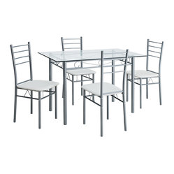 Glass Table And Four Chair Dining Set