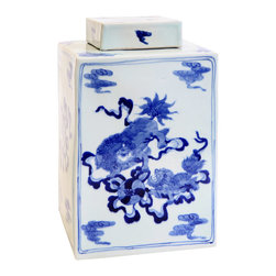 "Bungalow 5 - Bungalow 5 Fu Dog Square Jar - Designs that look comfortably familiar yet strikingly fresh are the hallmark of Bungalow 5. A traditional Eastern aesthetic marks the Fu Dog jar's unique square silhouette. A beautifully detailed accent for the mantel or tabletop, this white porcelain vessel features a hand-painted blue chinoiserie scene. 7.5""W x 13""H."