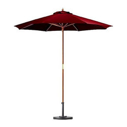 None - Premium 9-foot Brick Red Patio Umbrella with Base - Keep your cool on the porch,deck,or patio with this nine-foot umbrella with base that brings shade to any area. This large umbrella is crafted from wood and polyester with a wooden pole for durability and is easy to open and close.