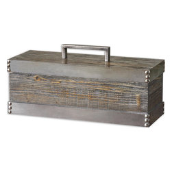 Uttermost - Uttermost Lican Natural Wood Decorative Box 19669 - Natural wood box with a light chestnut stain and antiqued silver accents. Removable lid.