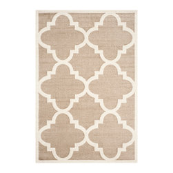 Safavieh - Delman Indoor/Outdoor Rug, Wheat / Beige 3' X 5' - Construction Method: Power Loomed. Country of Origin: Turkey. Care Instructions: Easy To Clean. Just Rinse With A Garden Hose. Coordinate indoor and outdoor living spaces with fashion-right Amherst all-weather rugs by Safavieh. Power loomed of long-wearing polypropylene, beautiful cut pile Amherst rugs stand up to tough outdoor conditions with the aesthetics of indoor rugs.