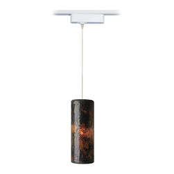 """Tech Lighting - Contemporary Veil Brown Glass LED Tech Track Pendant for Juno Track Systems - The Veil pendant strikes a cylindrical profile with crushed glass texture. It's accented by a silver inner layer for extra pizzazz. Included track adapter lets you connect this pendant to Juno track lighting systems. Includes a built-in 12 volt transformer that's concealed in the white finish housing. Six feet of field-cuttable suspension cable is included. Made by Tech Lighting for use with Juno line voltage track systems.  Brown glass. White finish adapter housing. For use with Juno line voltage track systems. Built-in 12V transformer. Includes six feet of field-cuttable suspension wire. Includes one replaceable 6 watt LED module. Comparable to a 40 watt incandescent bulb. 3000K color temperature. Light output is 360 lumens. Glass is 11"""" high 4"""" wide. Adapter is 6"""" wide 1 3/4"""" high.  Tech Lighitng track pendant.  Design is for Juno brand track systems.  For use with Juno line voltage track systems.  White finish adapter housing.  Built-in 12V transformer.  Includes six feet of field-cuttable suspension wire.  Includes one replaceable 6 watt LED module.  Light output is 360 lumens.  Comparable to a 40 watt incandescent bulb.  3000K color temperature.  Glass is 11"""" high 4"""" wide.  Adapter is 6"""" wide 1 3/4"""" high."""