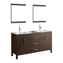 Adorbus - Adornus TRENTO-60-WAL-C Walnut Vanity - Free standing all wood vanity available in walnut veneer finish.
