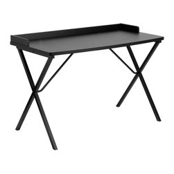 Flash Furniture - Black Computer Desk - This large surface writing desk will provide you enough space for your laptop and writing materials. The protective ledge border will permit papers from easily falling off the edge of the table. The simple design of this desk allows it to easily fit into any work space.; Spacious Laminate Top with Beveled Edge; Protective Ledge Border; Black Laminate Top Finish; Criss Cross Leg Design; Black Powder Coated Frame Finish; Plastic Floor Glides; Finish: Black Laminate; Materials: Laminate, Steel; Weight: 38 lbs; Overall Dimensions: 47.25''W x 23.625''D x 31.5''H