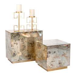 Worlds Away - Worlds Away Small Reverse Mirror Side Table with Gold Leaf Base CUBO SMG - Worlds Away Small Reverse Mirror Side Table with Gold Leaf Base CUBO SMG