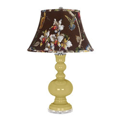"Color Plus - Contemporary Butter Up Olive Botanical Shade Apothecary Table Lamp - Butter Up yellow glass table lamp. Olive botanical print bell shade. Lucite base. Maximum 150 watt or equivalent bulb (not included). On/off switch. 30"" high. Shade is 10"" across the top 17"" across the bottom 11"" on the slant.   Butter Up yellow glass table lamp.  Olive botanical print bell shade.  Lucite base.  Maximum 150 watt or equivalent bulb (not included).  On/off switch.  30"" high.  Shade is 10"" across the top 17"" across the bottom 11"" on the slant."