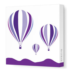 """Avalisa - Things That Go - Hot Air Balloons Stretched Wall Art, 28"""" x 28"""", Purple -"""
