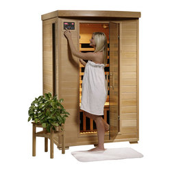 "Blue Wave - Blue Wave 2Person Carbon Infrared Sauna - Coronado - 2 person infrared sauna with carbon heaters the Coronado 2 person infrared sauna is perfect for relaxing and rejuvenating and will fit in virtually any room in the house. The natural hemlock wood color will enhance any decor. Its dual interior and exterior led control panels allow for easy temperature control. Coronado is available in ceramic or carbon heater options and is loaded with tons of extras, including towel hooks and magazine racks, cd player with mp3 plug-in, 2 speakers, backrests, color therapy light and an oxygen ionizer. Coronado is perfect for basking in the warmth with your special someone - add one to your home today! heaters 6 carbon heaters - other inferior sauna brands have only 5 heaters or less. More heaters means your heatwave infrared sauna; is more effective! location - the Coronado carbon sauna has 2 carbon heaters on the back wall, 1 on each side wall, 1 on the front of the bench and 1 on the floor. These 6 carbon heaters evenly bask you in soothing infrared heat. Infrared wavelength - heatwave saunas; put out infrared wavelengths from 5-12 microns, which are the portions of infrared heat that most benefit the human body. Operating temperature - heatwave saunas operate up to 141 degrees f. 1725 watts - see power distribution diagram for individual heater wattages. Wood and construction heatwave saunas; are made of solid hemlock wood and constructed with tongue and groove assembly. The exterior of the sauna is stained with an appealing, natural color; the interior is smooth sanded natural wood. Power requirements this heatwave sauna; uses 120V/15Amp power, and will plug right into your standard home electric outlet. No need to upgrade or change out electrical! control panel heatwave saunas; come equipped with dual easy-touch interior and exterior led control panels - easily adjust your sauna settings from inside or outside. Bronze tinted glass the door and glass panels on heatwave saunas; are made of beautiful, 7Mm thick, bronze tinted tempered glass. The tint provides a bit of privacy and aids in heat retention, while providing the safety of tempered glass. Lighting sauna is equipped with interior and exterior lighting, as well as a color therapy light with remote. Enjoy some reading while basking in the warmth of your heatwave sauna; sound system the Coronado comes standard with a radio with cd player and aux mp3 connection with 2 built in speakers, so you can crank up your favorite tunes while soaking up all the health benefits of your sauna! other inferior sauna brands make you pay extra for this option, but every heatwave sauna; comes with a sound system standard. Air vents the adjustable roof vent allows you to open the vent to bring in outside air if desired. Vent holes in the floor help provide air circulation. Color therapy bulb the color therapy bulb allows you to bask in rotating colors, or choose a steady stream of one of the six available colors. Enhances the sauna experience. Other sauna brands offer this as an option for an additional cost, but the color therapy system is included with this heatwave sauna; an $89. 95 value! ergonomic back rests the 2 person heatwave saunas; include 2 backrests, for ultimate sauna comfort. Back rests can be moved to any desired location, making your sauna session even more comfortable and enjoyable. Oxygen ionizer the included electronic oxygen ionizer releases negative ions, which help purify the air in your sauna, keeping it clean and fresh. The ionizer is an optional feature with many inferior sauna brands, but it's included in this heatwave sauna;! a $49. 95 value! specifications capacity - the Coronado will comfortably seat 2 people on the extra deep bench that runs along the back wall of the sauna. Product dimensions - once assembled the Coronado sauna measures approximately 49; x39; x75; see sauna dimension diagram for details. Product weight - 300 lbs. Assembly - heatwave saunas; come partially assembled, and to complete assembly you will need 2 people, a screwdriver, a ladder and about an hour. Comprehensive instruction manual is included, and in a very short amount of time your sauna will be ready for use! warranty 5-year warranty on heaters, structure and electrical. 1-year warranty on radio. Certifications heatwave saunas; are proudly backed by cetl, which is etl valid in U. S. and Canada. Shipping information shipping weight - 354 lbs. # of cartons - 2 carton dimensions - 78"" x 30"" x 56""."