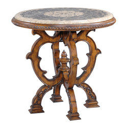 Ambella Home - Mosaic Table - Small - Gorgeous small center table featuring a mosaic stone top crafted from black granite, light emperador and dark emperador marble.  Imported.