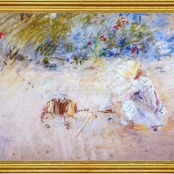 """Berthe Morisot-16""""x20"""" Framed Canvas - 16"""" x 20"""" Berthe Morisot Child Playing in the Garden framed premium canvas print reproduced to meet museum quality standards. Our museum quality canvas prints are produced using high-precision print technology for a more accurate reproduction printed on high quality canvas with fade-resistant, archival inks. Our progressive business model allows us to offer works of art to you at the best wholesale pricing, significantly less than art gallery prices, affordable to all. This artwork is hand stretched onto wooden stretcher bars, then mounted into our 3"""" wide gold finish frame with black panel by one of our expert framers. Our framed canvas print comes with hardware, ready to hang on your wall.  We present a comprehensive collection of exceptional canvas art reproductions by Berthe Morisot."""