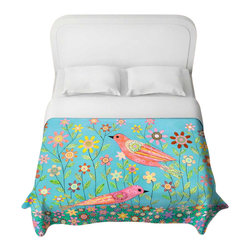 DiaNoche Designs - Bohemian Birds Duvet Cover - Lightweight and super soft brushed twill duvet cover sizes twin, queen, king. Cotton poly blend. Ties in each corner to secure insert. Blanket insert or comforter slides comfortably into duvet cover with zipper closure to hold blanket inside. Blanket not included. Dye Sublimation printing adheres the ink to the material for long life and durability. Printed top, khaki colored bottom. Machine washable. Product may vary slightly from image.
