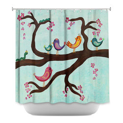 DiaNoche Designs - Shower Curtain Artistic Bird Festival II - DiaNoche Designs works with artists from around the world to bring unique, artistic products to decorate all aspects of your home.  Our designer Shower Curtains will be the talk of every guest to visit your bathroom!  Our Shower Curtains have Sewn reinforced holes for curtain rings, Shower Curtain Rings Not Included.  Dye Sublimation printing adheres the ink to the material for long life and durability. Machine Wash upon arrival for maximum softness. Made in USA.  Shower Curtain Rings Not Included.