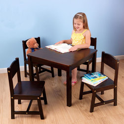 KidKraft - Farmhouse Table and Four Chairs in Espresso - Farmhouse Table and Four Chairs in Espresso