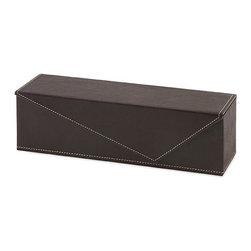 iMax - Mosely Wine Bottle Box - Take a letter: Velvet-lined, leather look wine bottle box features an envelope-style closure with contrast stitching.