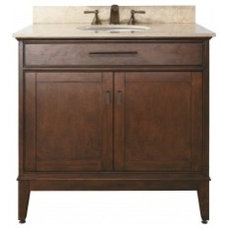 36 Inch Single Sink Bathroom Vanity in Tobacco with Choice of Countertop UVACMAD