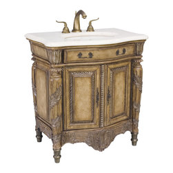 Ambella Home - Martinique Medium Sink Chest - Antique parchment finish, pewter brushed embellishments and an Ivory Cream marble top are all features of this medium version of the Martinique sink chest. Balsa porcelain sink installed.   Imported.