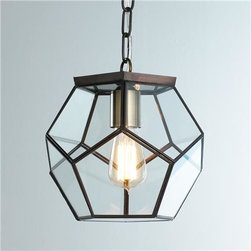 Clear Glass Prism Pentagon Pendant Light - When objects lack in color, they certainly should not lack in shape. This pendant light would be stunning over a farmhouse table or subway tile–lined island.