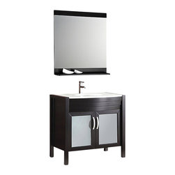 "Fresca - Fresca Infinito 36"" Modern Bathroom Vanity w/ Medicine Cabinet and Faucet - Hello, handsome. Boasting smooth curves, clean lines and richly finished solid oak construction, this stylish vanity has every right to be vain. Add generous storage space and a chic medicine cabinet, and this may just be the vanity set of your dreams."