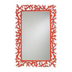 Currey & Co - Currey & Co 1084 Corail Red Mirror - The cast aluminum frame of the Currey & Co 1084 Corail Red Mirror is designed to mimic wild coral in the sea. It is finished in a brilliant red powder coat to give extra protection to the metal and to give the mirror a unique look. The color makes this mirror the perfect accent piece for a room in need of a little extra pop.