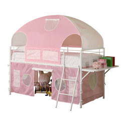 Adarn Inc. - Girls White Metal Pink Tent Twin Bunk Loft Bed w/ Shelf Low Safe Play Bunkbed - Make your child's bedroom cozy for sleep and fun for playtime with this tent bunk bed. It is crafted from metal and is finished in a glossy white. Pink fabric is included to create the tent-style bed shape, offering a pretty pastel touch. A shelf on the end provides additional functionality. Below, plentiful space is provided for toys or other items with the bunk's lofty design. A short leaning ladder is also included. Mattress sold separately and bunkie board not required.